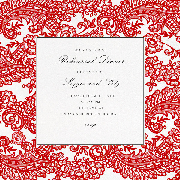 Filigree Lace (Square) - Vermillion - Oscar de la Renta - Rehearsal dinner