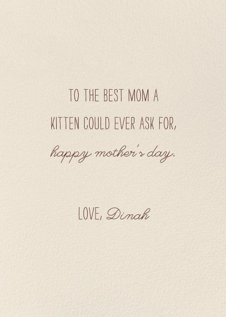 Cat Cuddle (Becca Stadtlander) - Red Cap Cards - Mother's Day - card back
