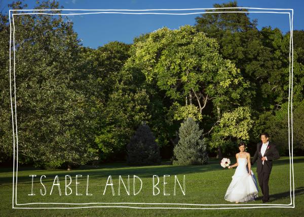 Double Hand-Drawn Border - White - Linda and Harriett - Wedding