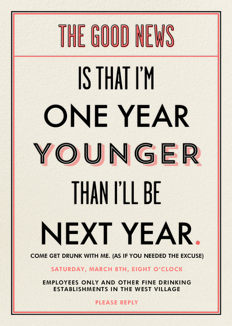 I'm a Year Younger than Next Year - Derek Blasberg - Adult birthday