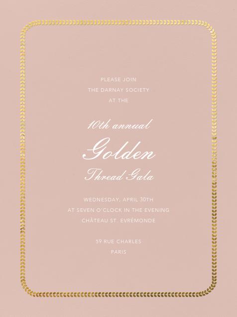 Inner Leaf Gold Bevel Border - Rose Tall - Paperless Post - Charity and fundraiser
