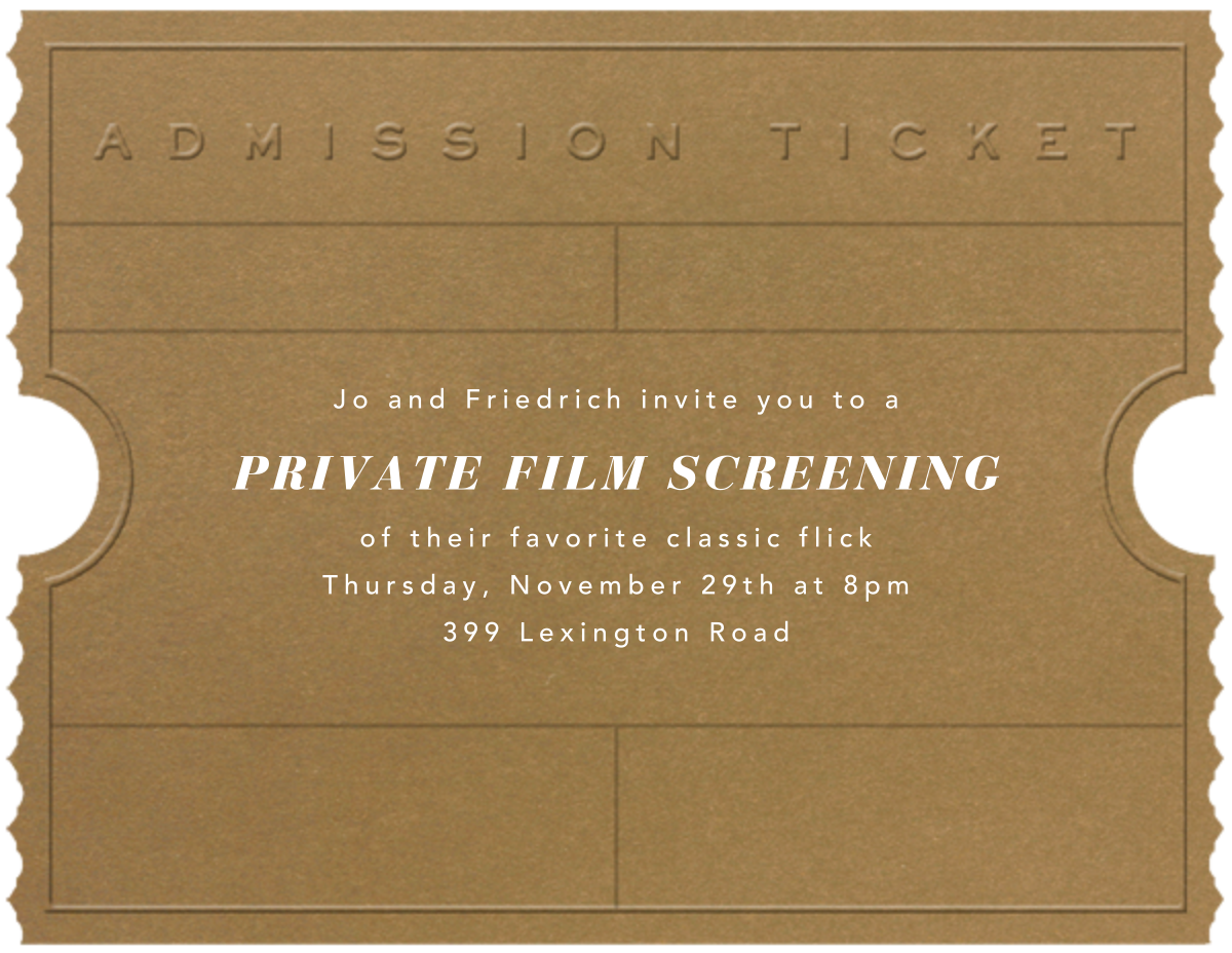 Golden Ticket (Tabac) - Paperless Post - Viewing party