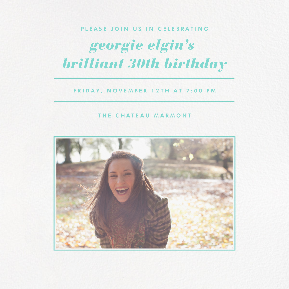 Square Centered - Tiffany - Paperless Post - Adult birthday