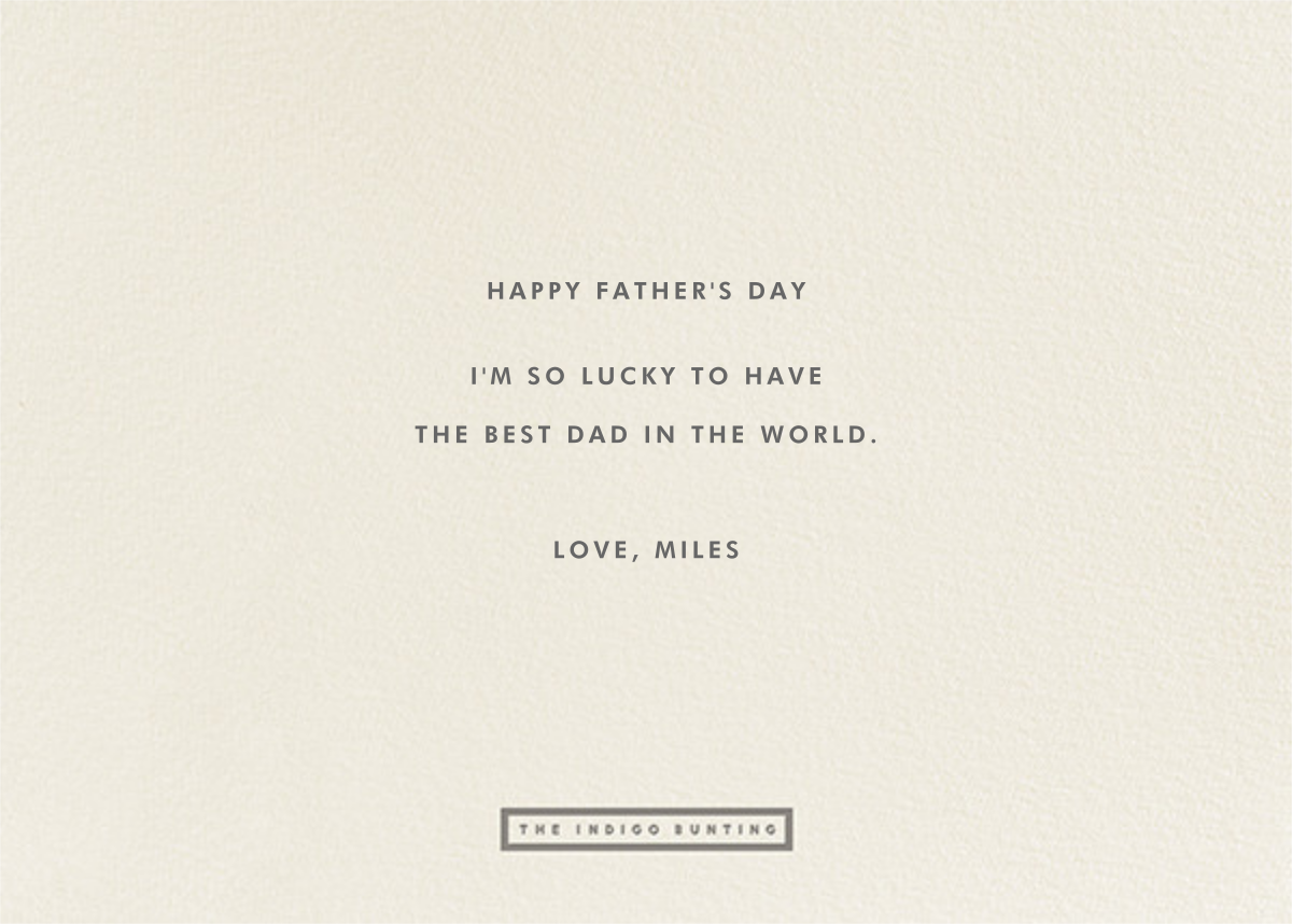 To The Greatest Pop - Grey - The Indigo Bunting - Father's Day - card back