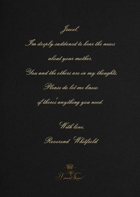 Deepest Sympathies - Black - Bernard Maisner - Sympathy - card back