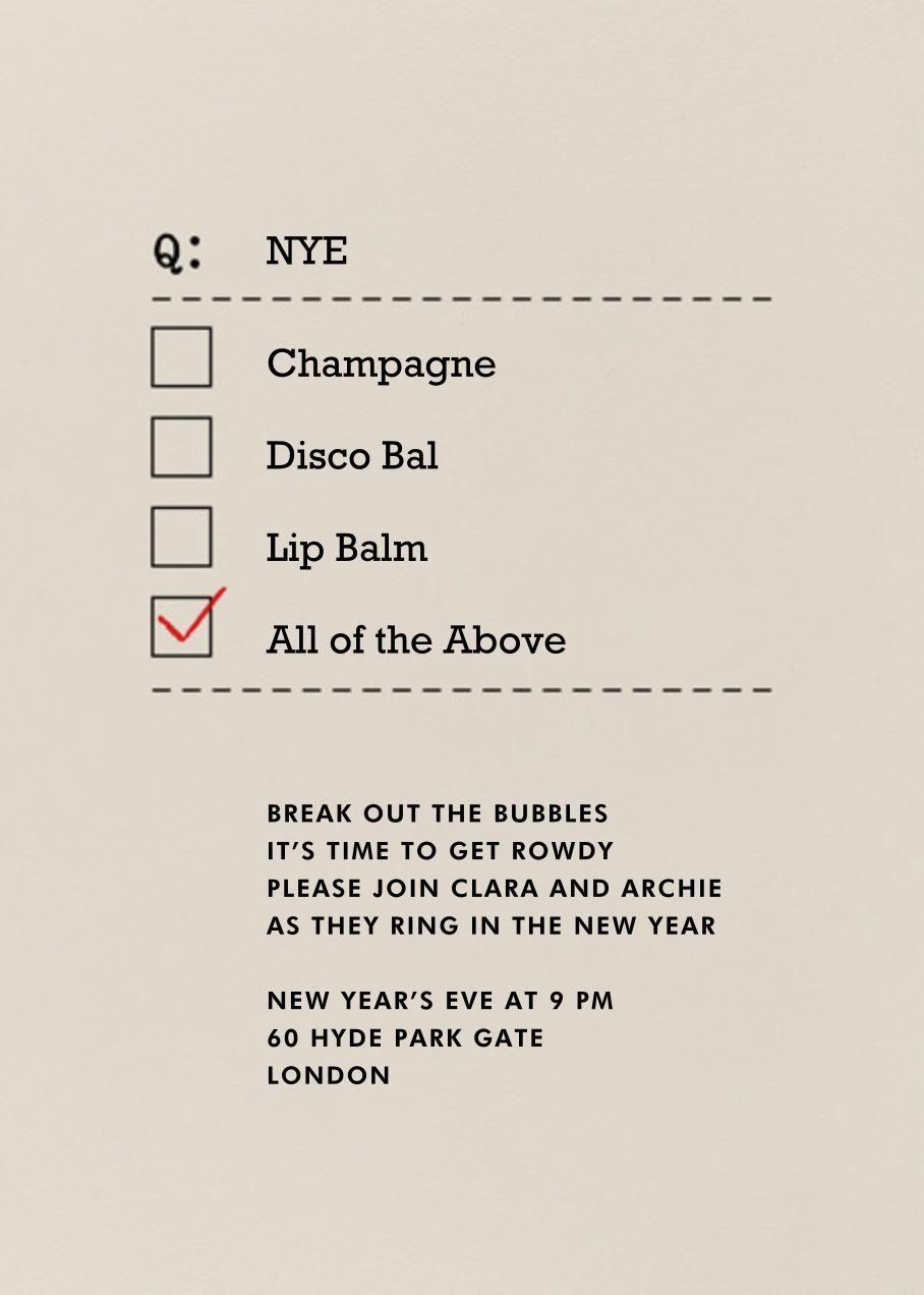 NYE, Champagne, and Lip Balm - Paperless Post