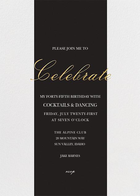 Celebration Stripe - Black/Gold - Sugar Paper - Adult birthday