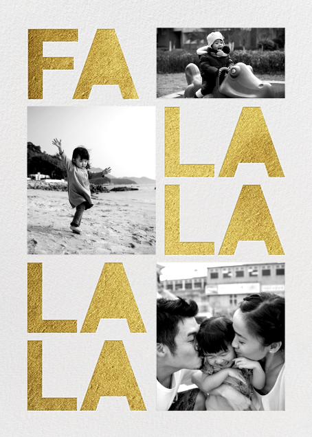 Fa Lalala La - Gold - Paperless Post - Holiday cards