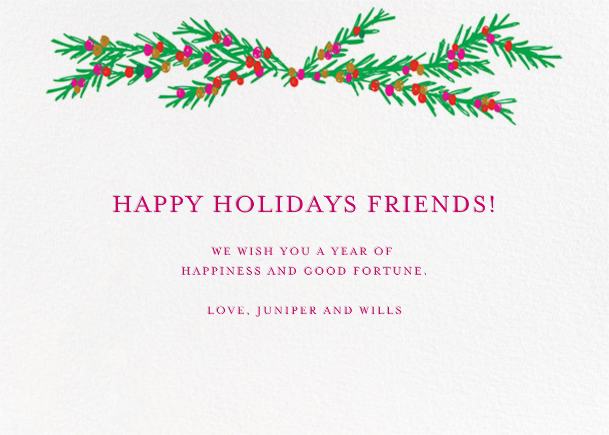Grinning and Glowing (Horizontal Photo) - Mr. Boddington's Studio - Holiday cards - card back