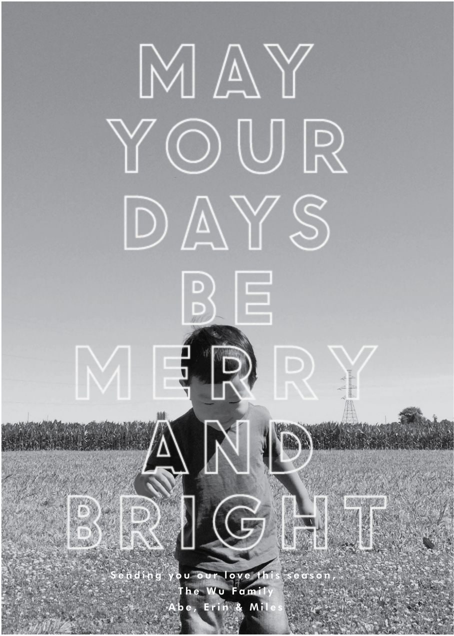 Merry and Bright Big Type - The Indigo Bunting - New Year