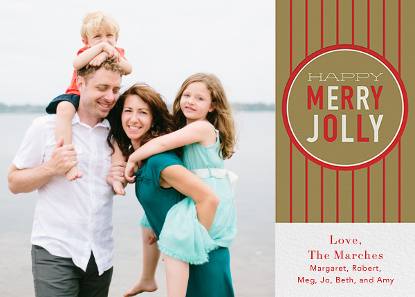 Happy Merry Jolly Stripes - Gold - Paperless Post - null