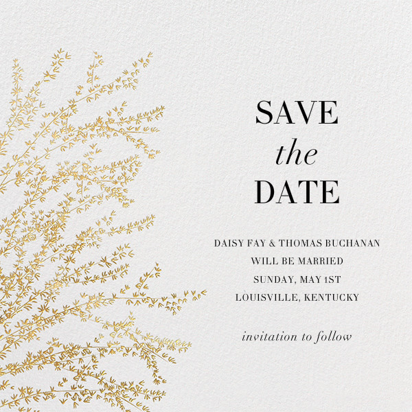 Forsythia - Gold - Paperless Post - Party save the dates