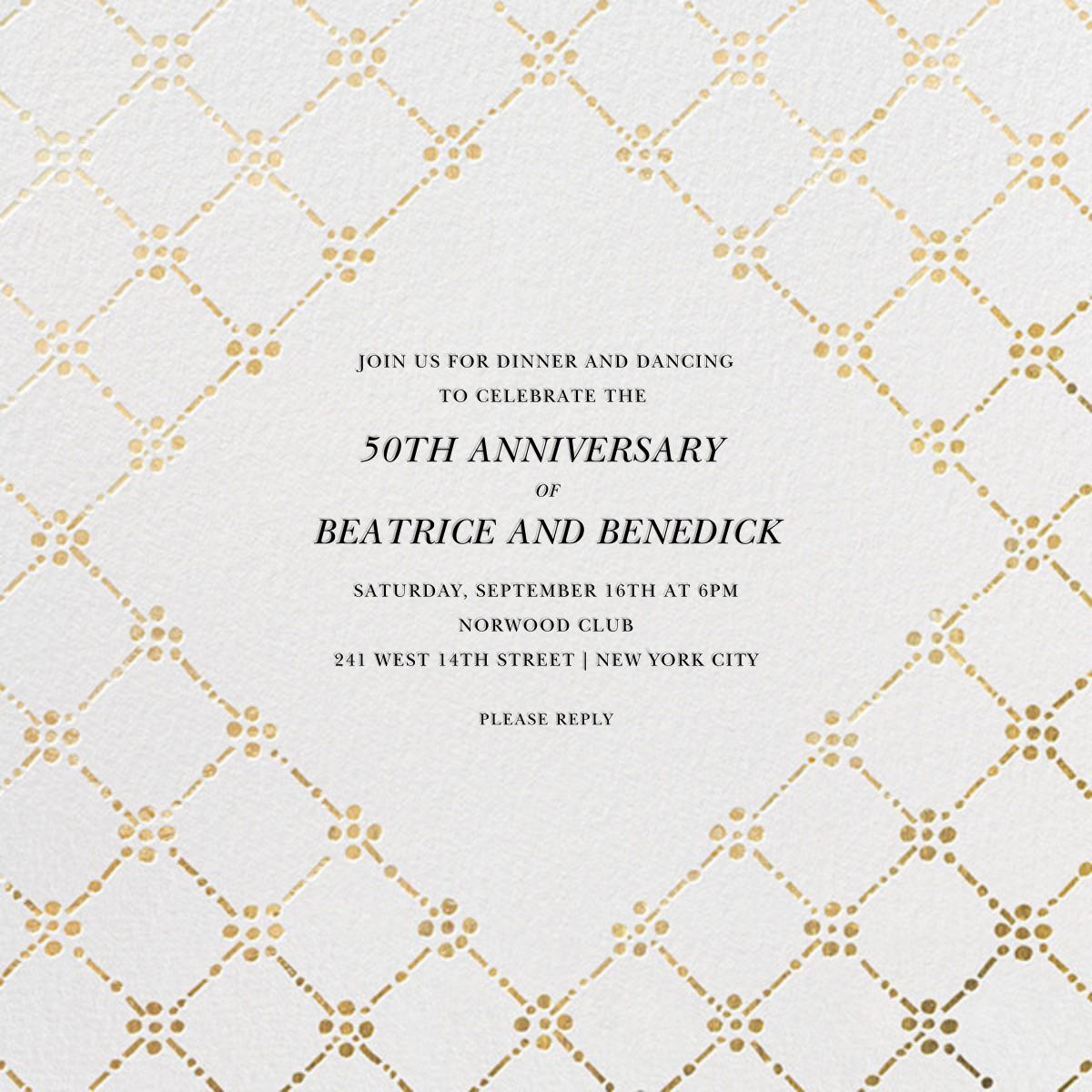 Pearl Embroidery (Square) - Gold - Oscar de la Renta - Anniversary party