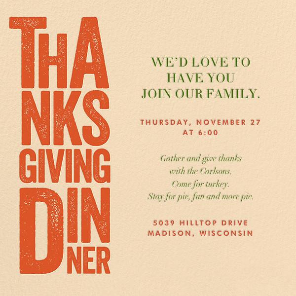 Thanksgiving Woodblock - Crate & Barrel - Thanksgiving
