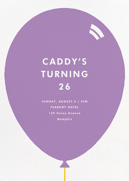 Birthday Balloon - Lilac - Paperless Post - Adult birthday