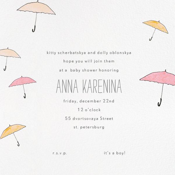 Umbrellas - Orange - Paperless Post - Baby shower