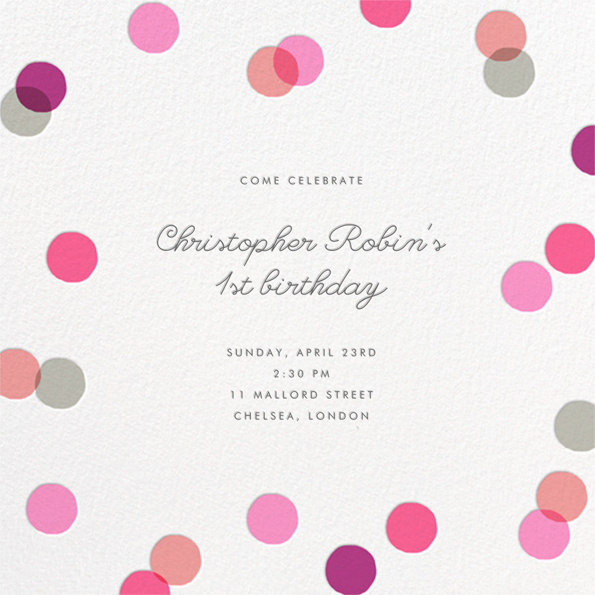 Carnaby - Pink - Paperless Post - 1st birthday