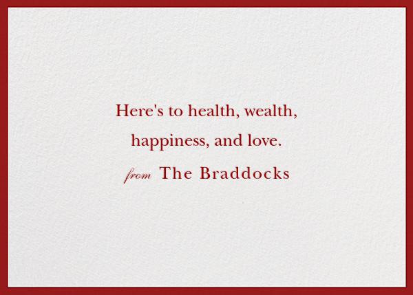 Peace and Love - Crimson - Jonathan Adler - Holiday cards - card back