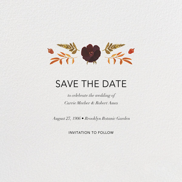 Fleurs d'Automne (Photo Save the Date) - Gold - Paperless Post - Back