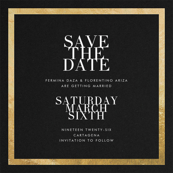 Editorial II (Save the Date) - Black/Gold - Paperless Post - Party save the dates