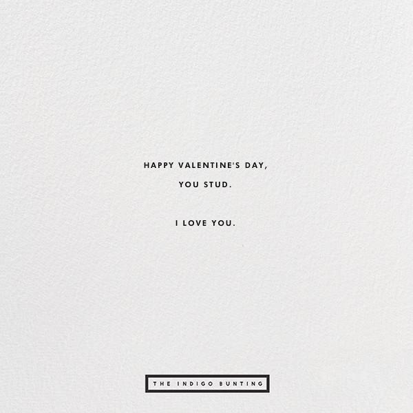 Stud Muffin - The Indigo Bunting - Valentine's Day - card back