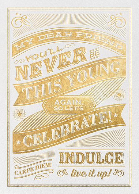 Dear Friend Gold Birthday Card - Hello!Lucky