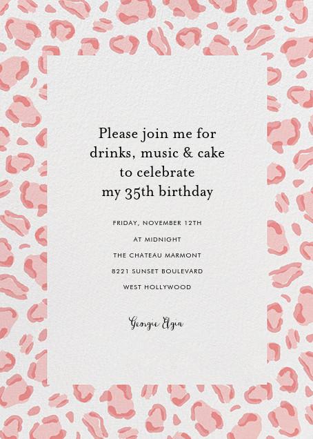 Leopard Spots - Pink  - Paperless Post - Adult birthday