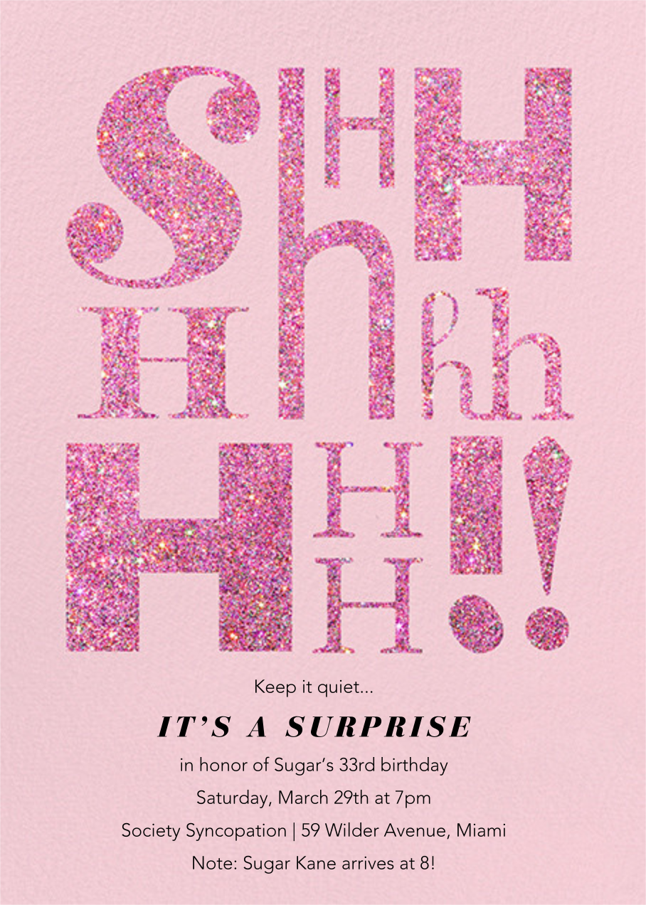 """It's Called a """"Secret"""" - Blush - Paperless Post - Adult birthday"""