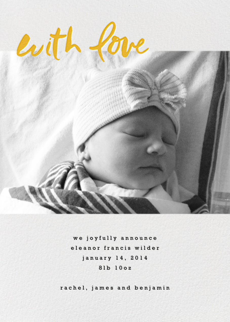 With Love From Baby (Tall) - Mango - Linda and Harriett - Birth
