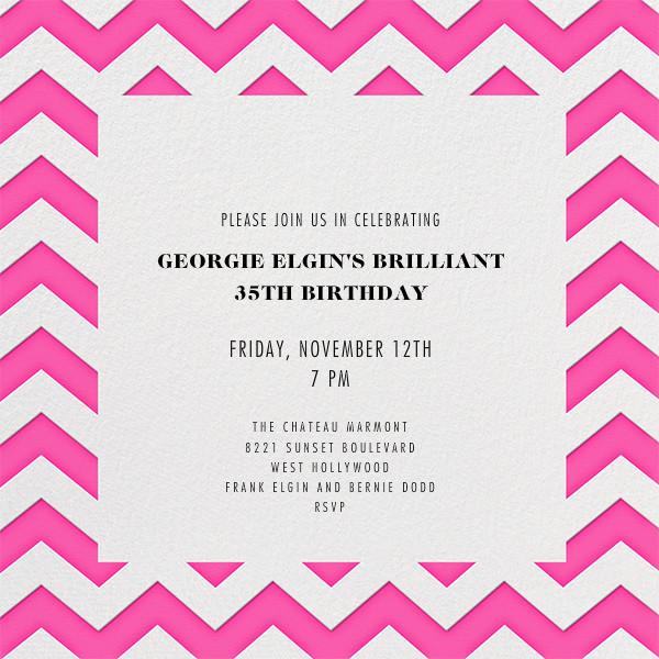 Chevrons (Square) - Bright Pink - Paperless Post - Adult birthday