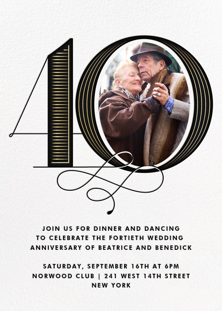Pinstripe Numerals (Forty) - Paperless Post - Anniversary party