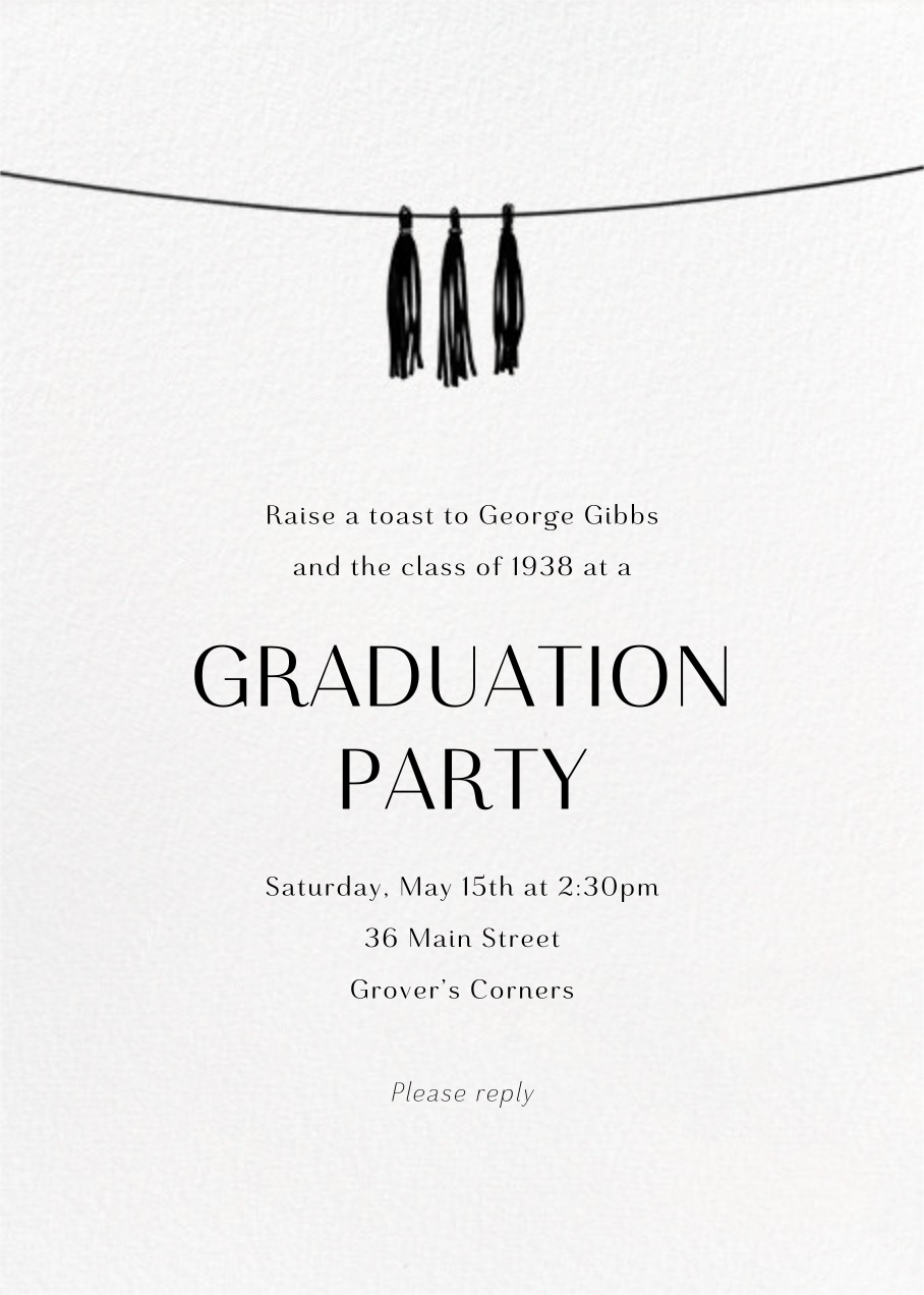 Tasseled II (Photo) - Gold - Paperless Post - Graduation party - card back