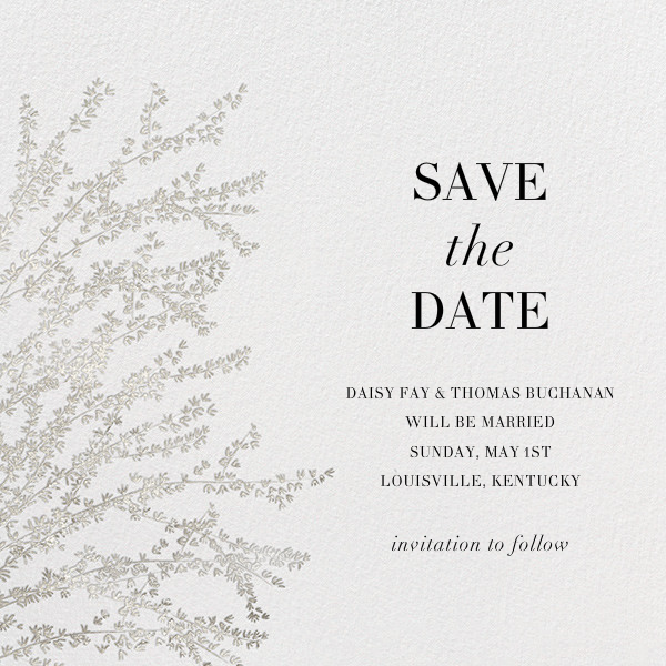 Forsythia - Silver - Paperless Post - Party save the dates