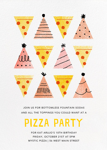 Pizza Pizza - Pink - Paperless Post - Kids' birthday