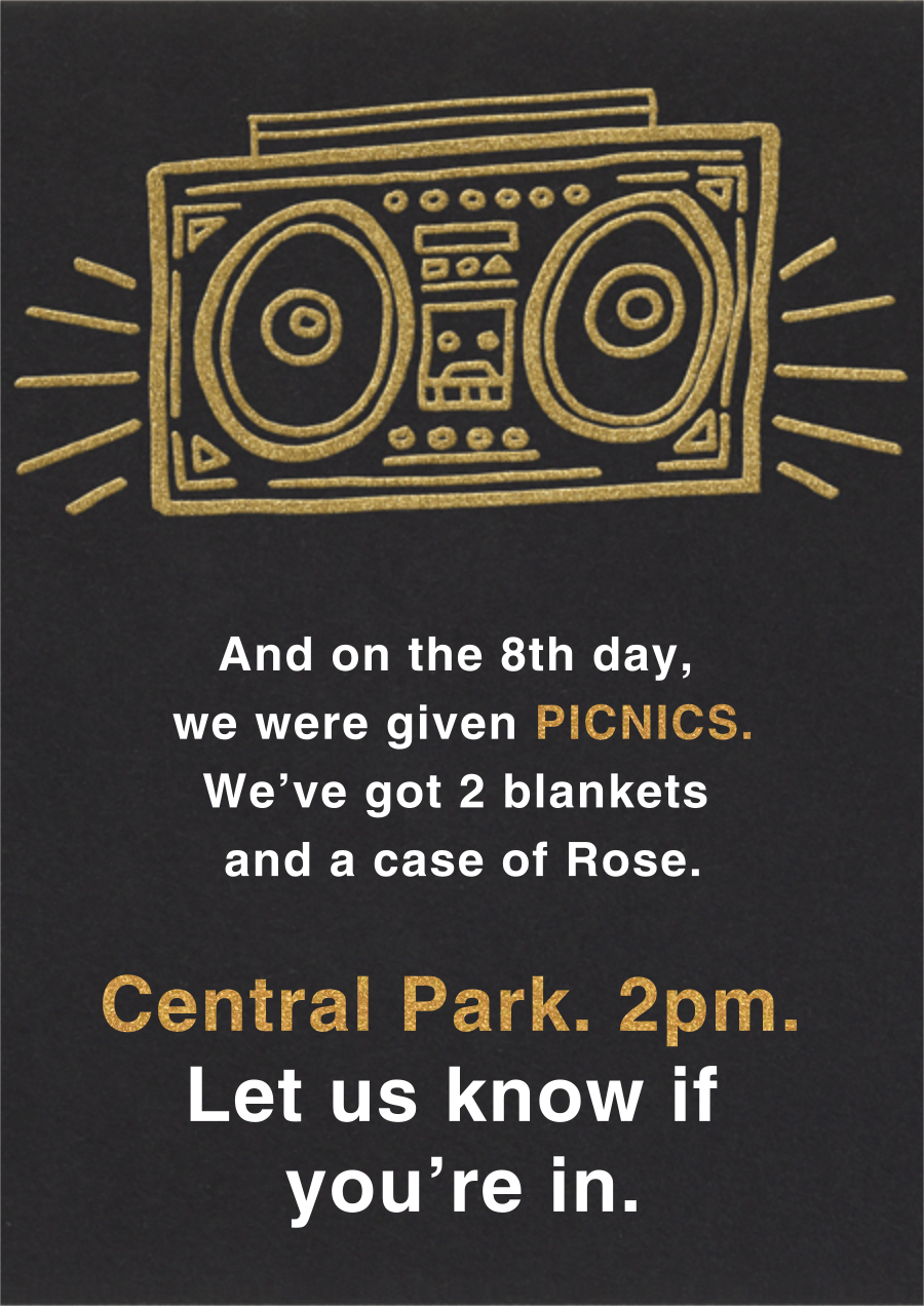 Radiant Boom Box - Paperless Post - 80s Theme Party Invitations