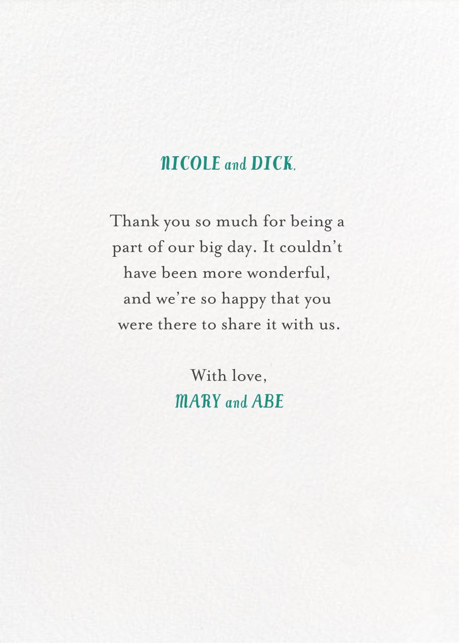 The Newlyweds Car - Mr. Boddington's Studio - Thank you - card back