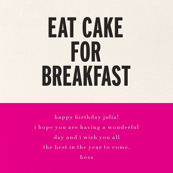 Eat Cake for Breakfast (Square) - Pink - kate spade new york - Birthday