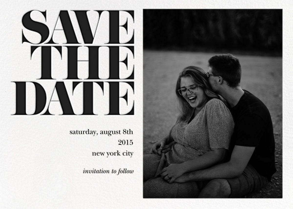 Vintage Book Save the Date (Photo) - Black - kate spade new york