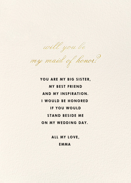Maid of Honor Request - kate spade new york - Wedding party requests - card back