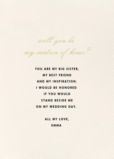 Matron of Honor Request - kate spade new york - Wedding party requests - card back