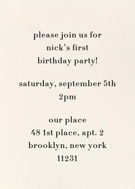 Daisy Place Birthday - Blue - kate spade new york - First birthday - card back