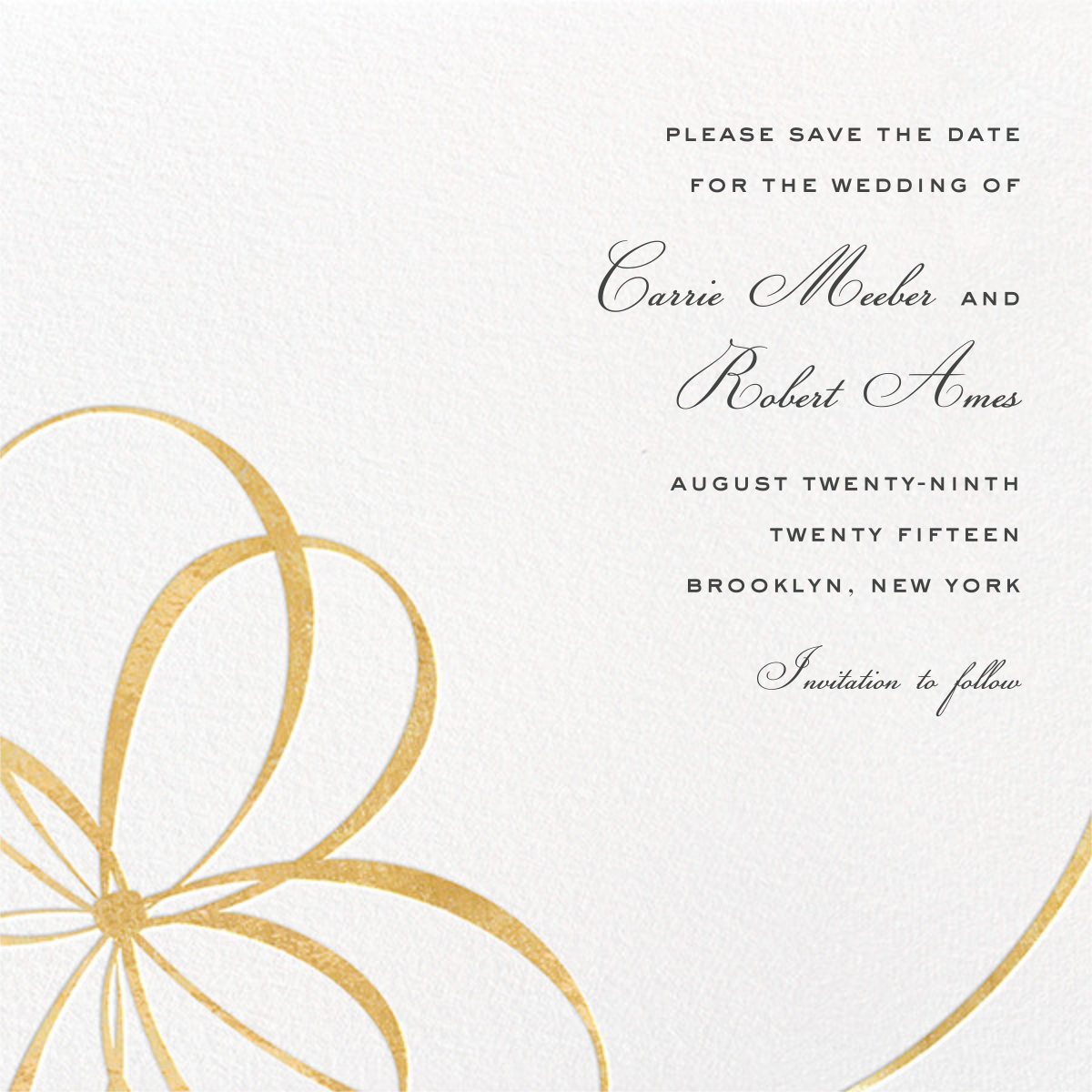 Belle Boulevard (Save the Date) - Gold - kate spade new york - Save the date