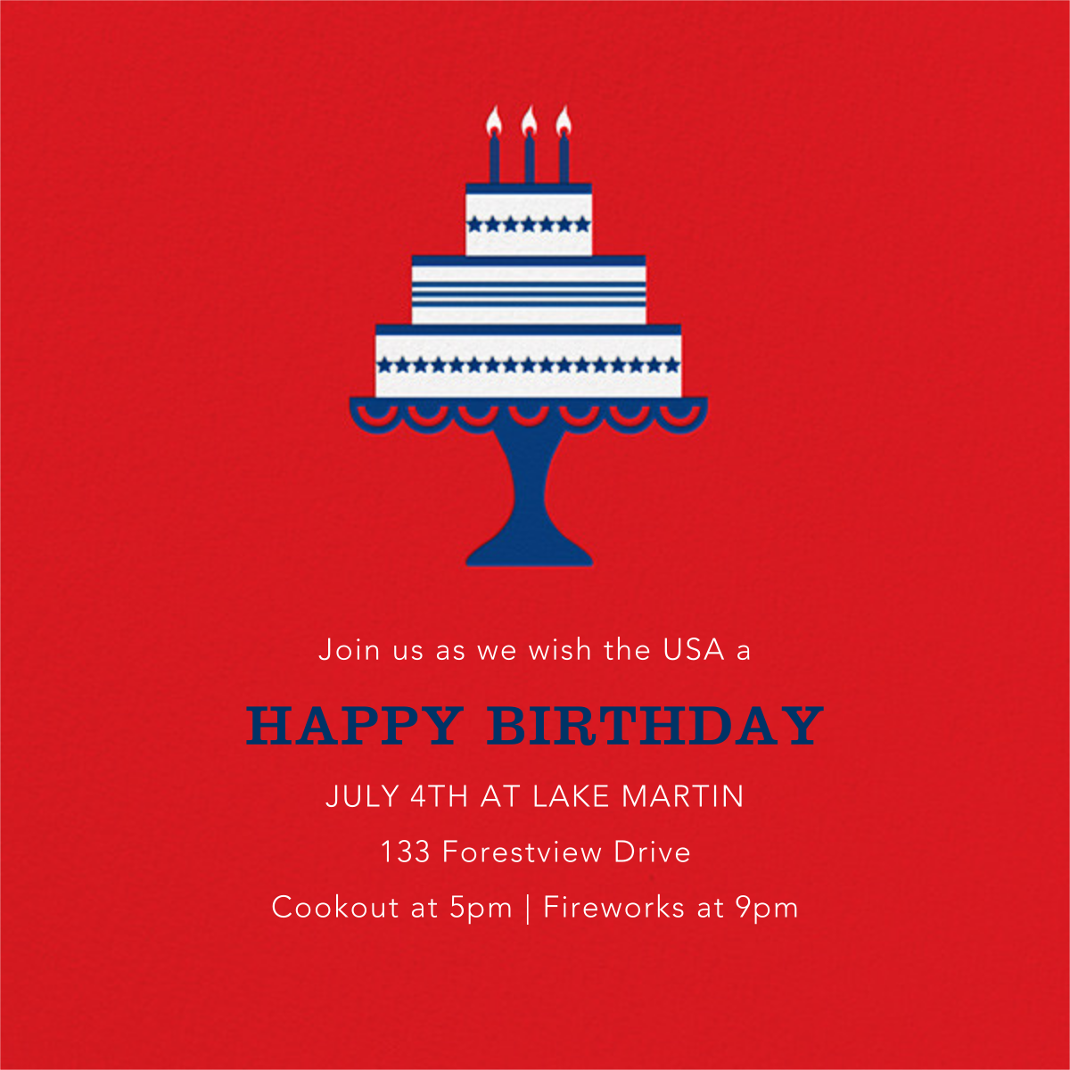 Cake and Candles (Invitation) - 4th of July - Jonathan Adler - 4th of July