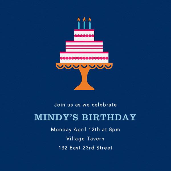 Cake and Candles (Invitation) - Blue - Jonathan Adler - Adult birthday