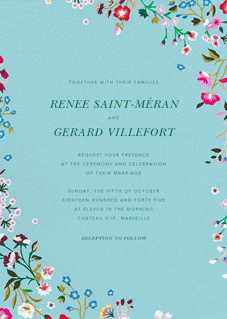 Embroidered Floral - Aquamarine  - Oscar de la Renta