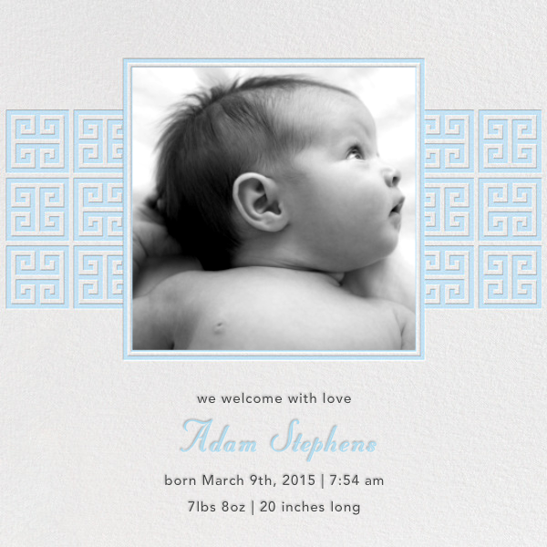 Greek Key Stripe - Blue - Jonathan Adler - Baby boy announcements