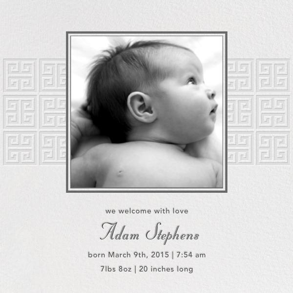 Greek Key Stripe - Gray - Jonathan Adler - Baby boy announcements