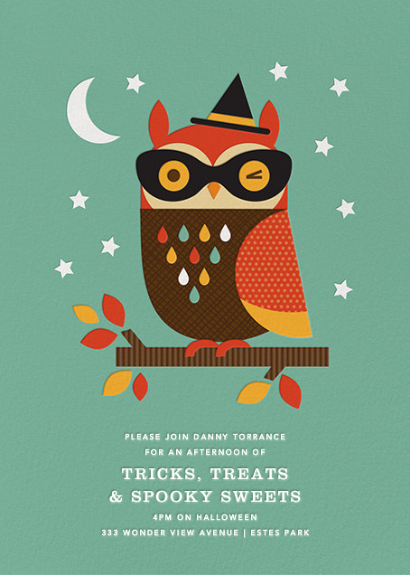 Owl in Disguise -  Green - Petit Collage - Kids' Halloween invitations