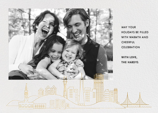 San Francisco Skyline View (Photo) - White/Gold - Paperless Post - Holiday cards
