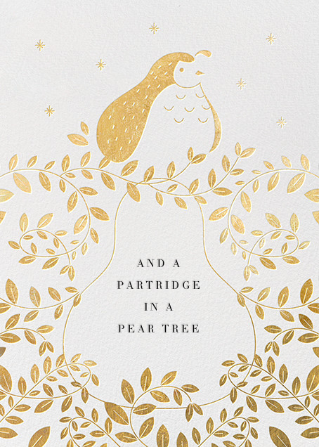 Partridge and Pear - Gold - Paperless Post - Holiday cards